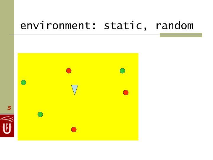 environment: static, random