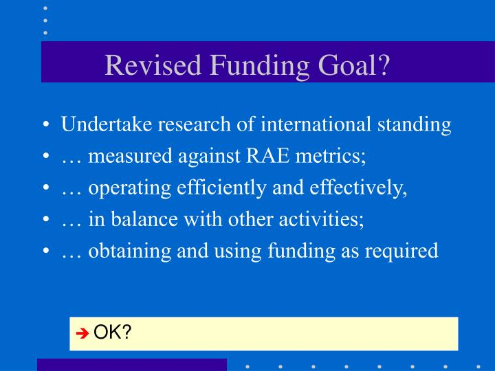 Revised Funding Goal?