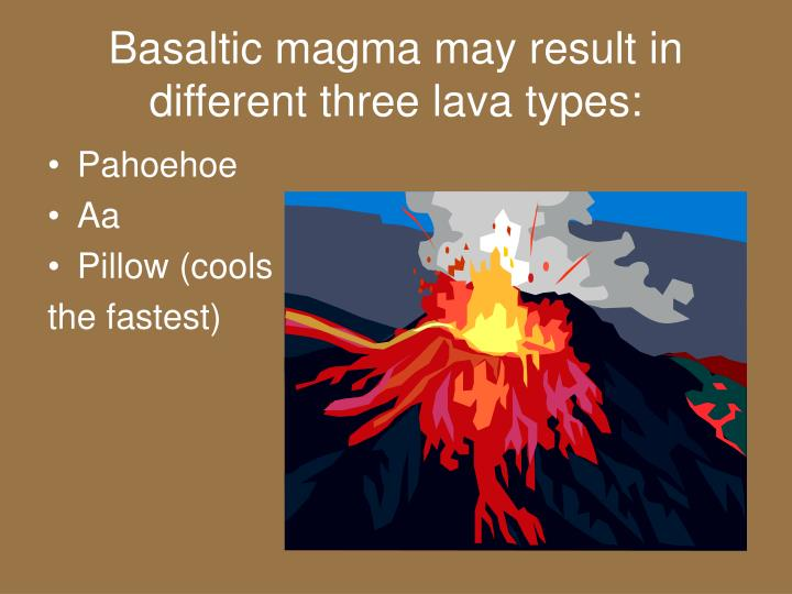 Basaltic magma may result in different three lava types: