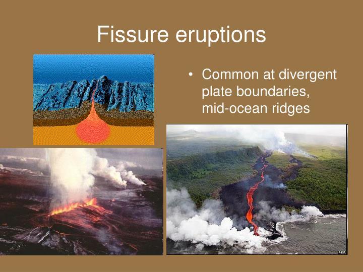 Common at divergent plate boundaries, mid-ocean ridges