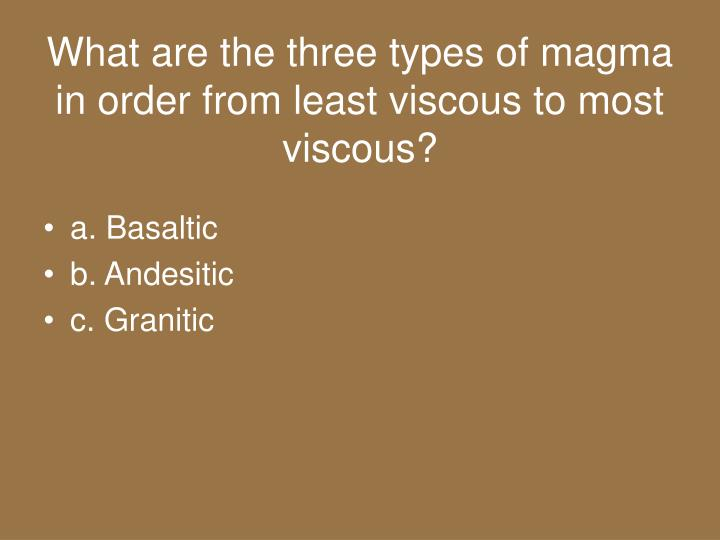What are the three types of magma in order from least viscous to most viscous?