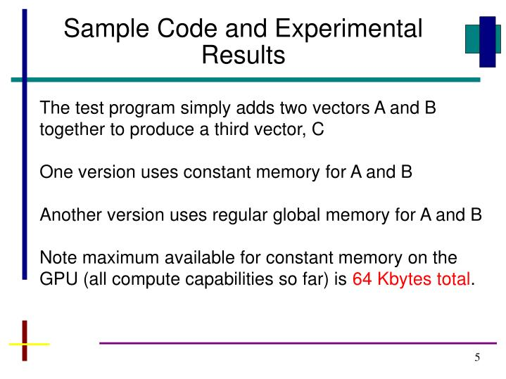 Sample Code and Experimental Results