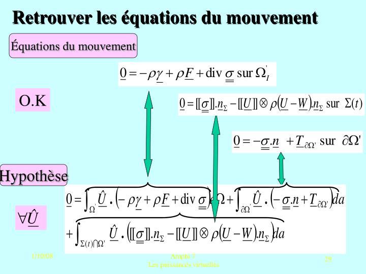 Retrouver les équations du mouvement