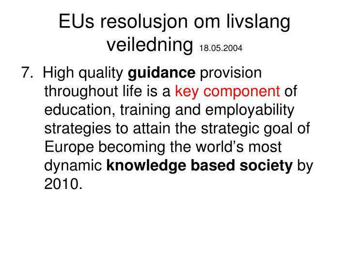 EUs resolusjon om livslang veiledning