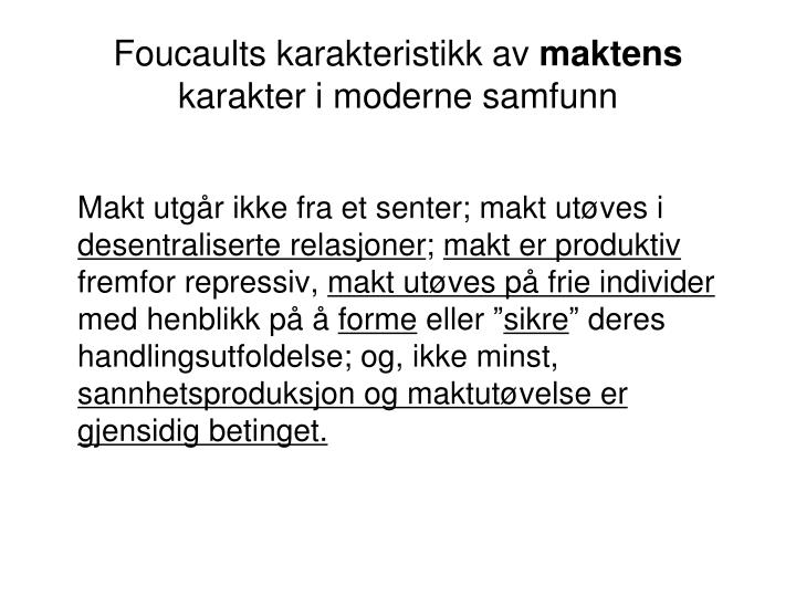 Foucaults karakteristikk av