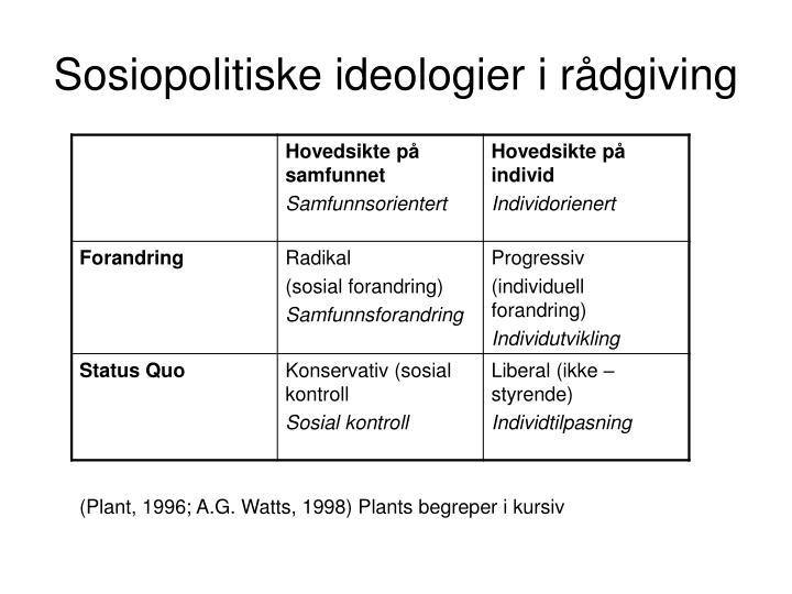 Sosiopolitiske ideologier i rådgiving