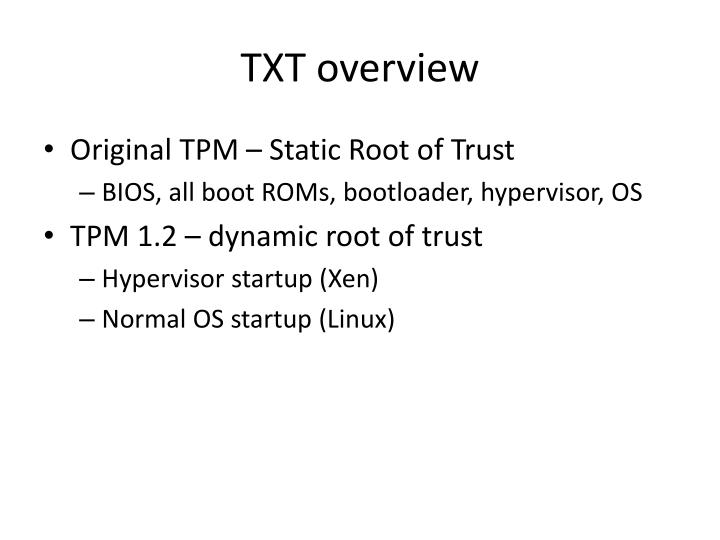Txt overview