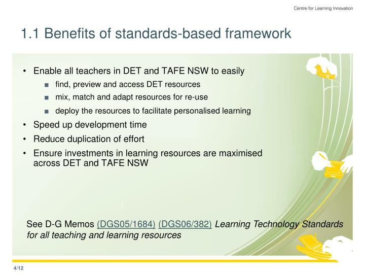 1.1 Benefits of standards-based framework