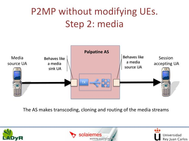 P2MP without modifying UEs.