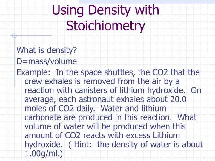 Using Density with Stoichiometry