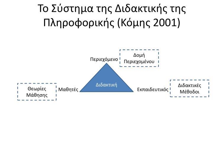 Το Σύστημα της Διδακτικής της Πληροφορικής (Κόμης 2001)