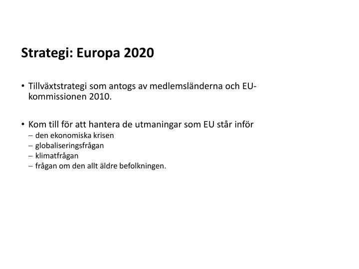 Strategi: Europa 2020