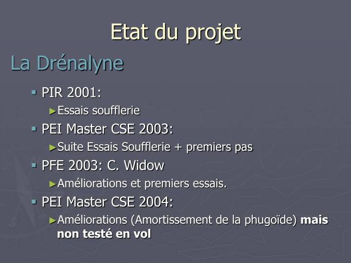 Etat du projet