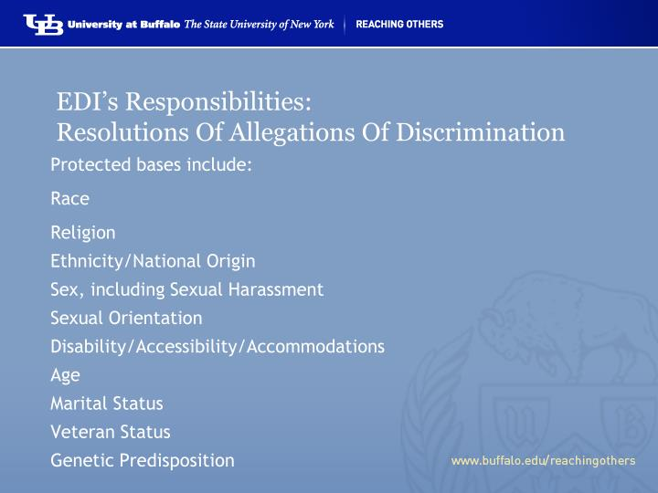 Edi s responsibilities resolutions of allegations of discrimination