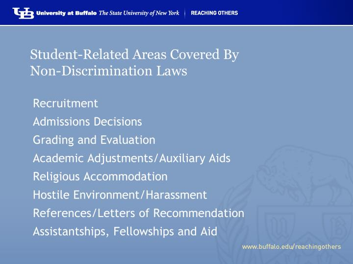 Student-Related Areas Covered By