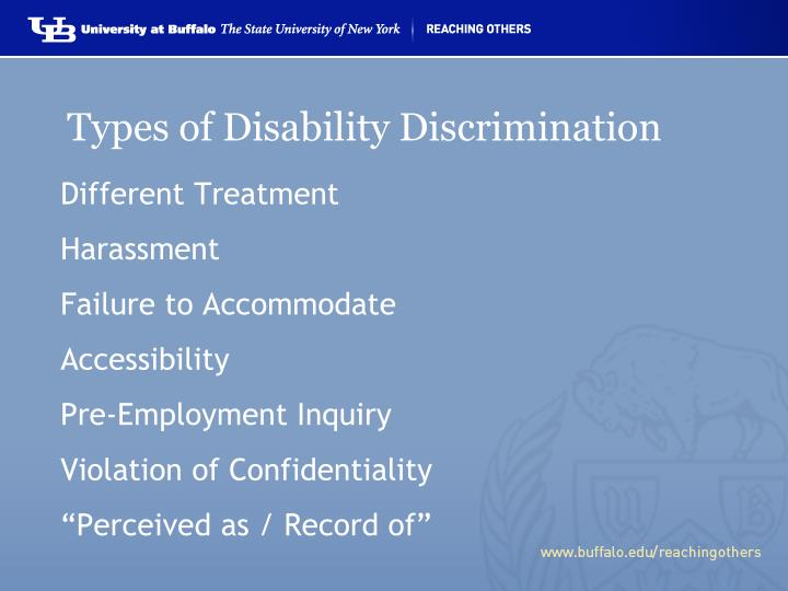Types of Disability Discrimination