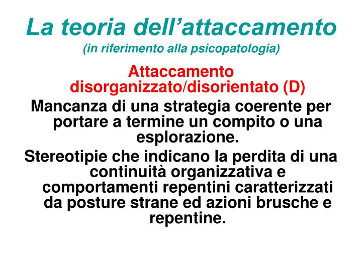 La teoria dell'attaccamento