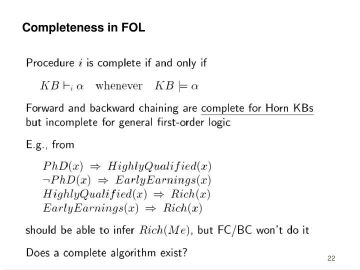Completeness in FOL