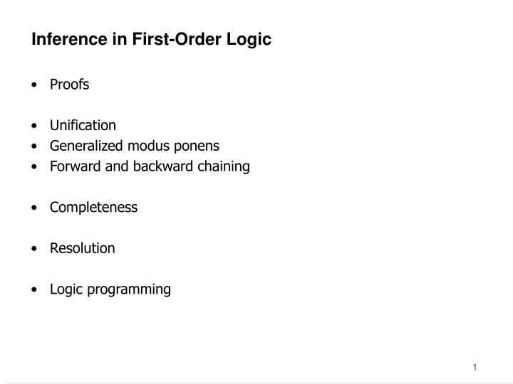 Inference in first order logic