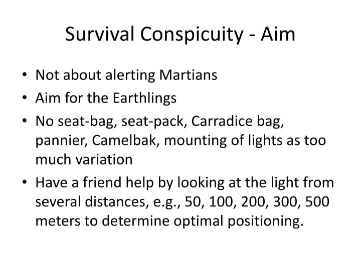 Survival Conspicuity - Aim