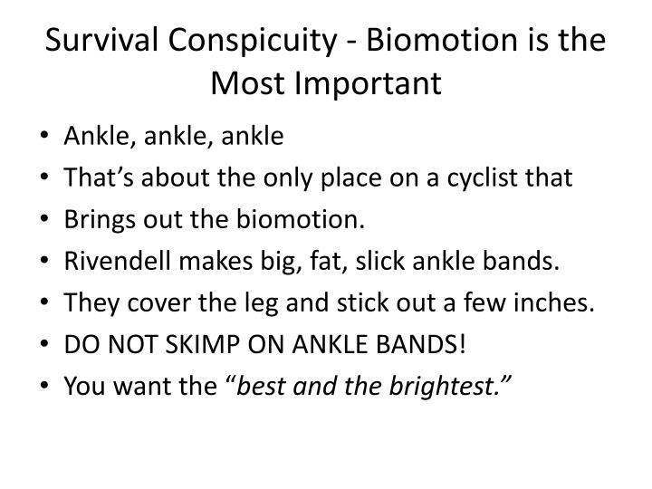Survival Conspicuity - Biomotion is the Most Important