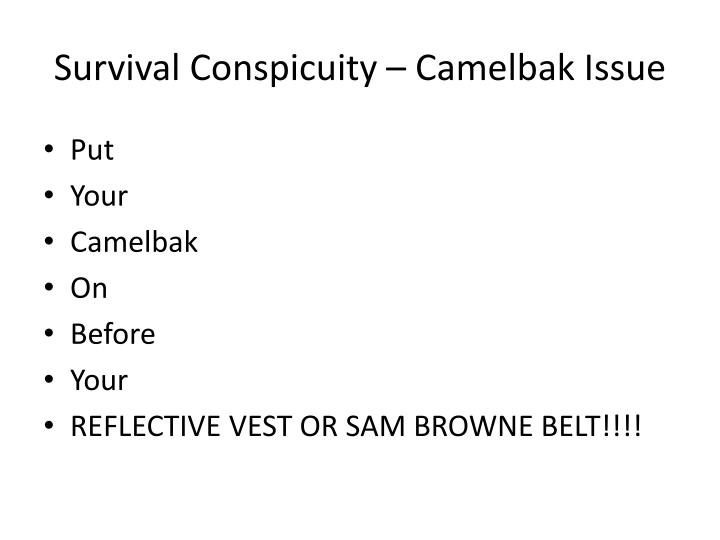 Survival Conspicuity – Camelbak Issue