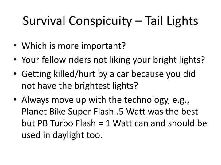 Survival Conspicuity – Tail Lights