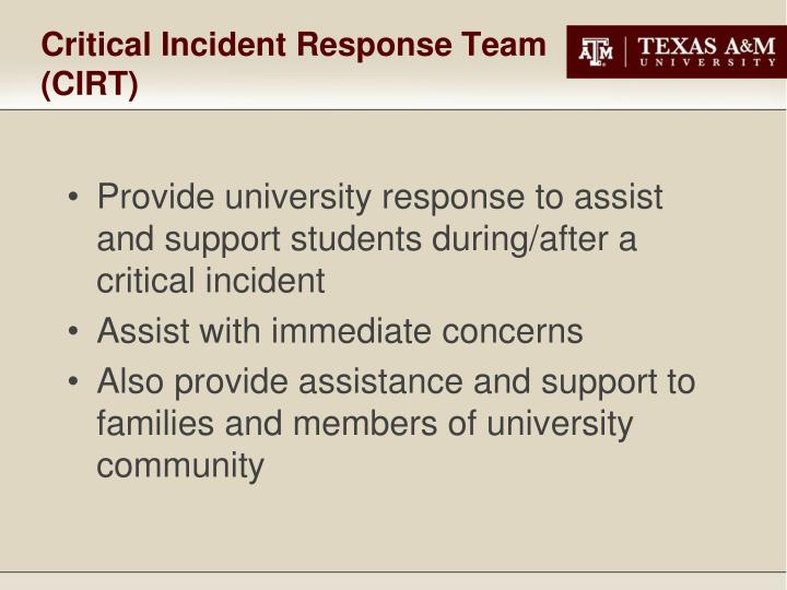 Critical Incident Response Team (CIRT)
