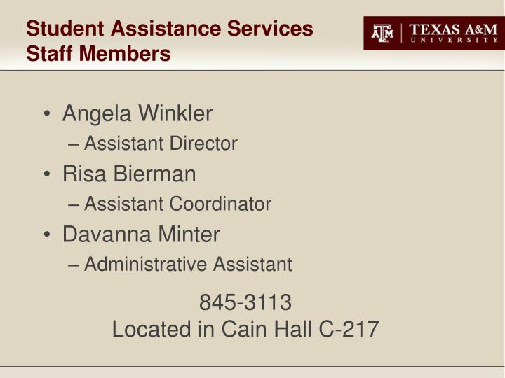 Student assistance services staff members