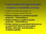 vztah ruraliza n regionaliza n tendence k model m rozvoje