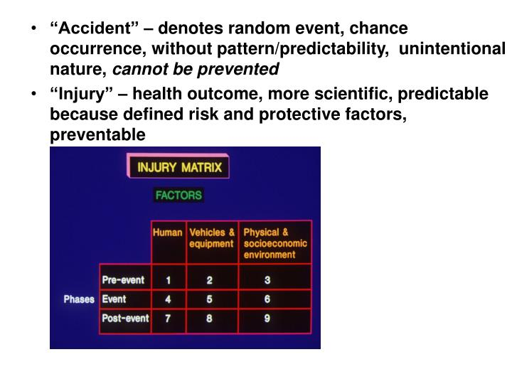 """""""Accident"""" – denotes random event, chance occurrence, without pattern/predictability,  unintentional nature,"""