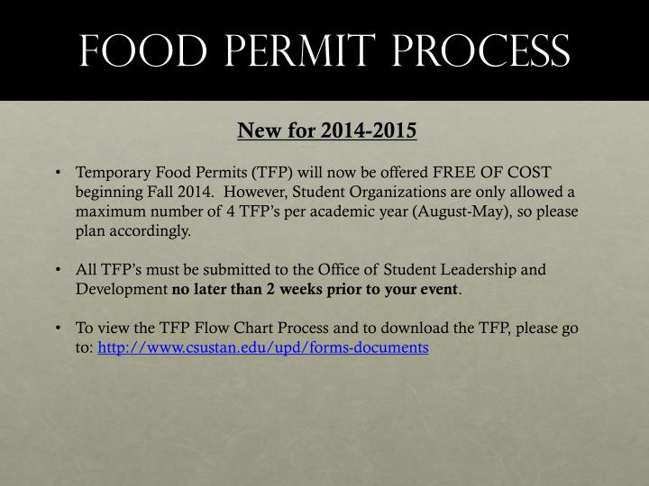 Food permit process