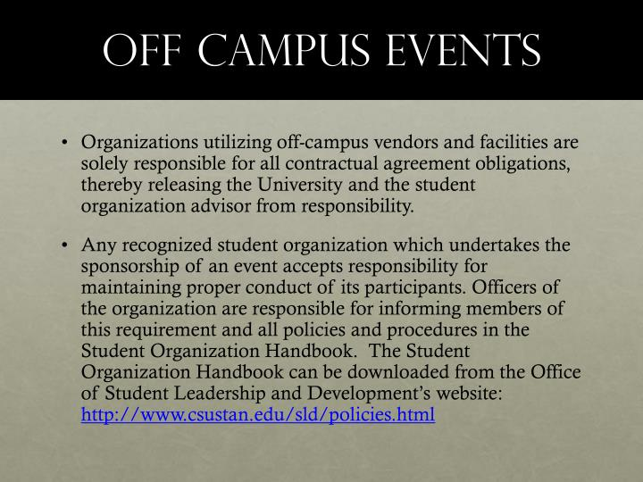 Off campus events