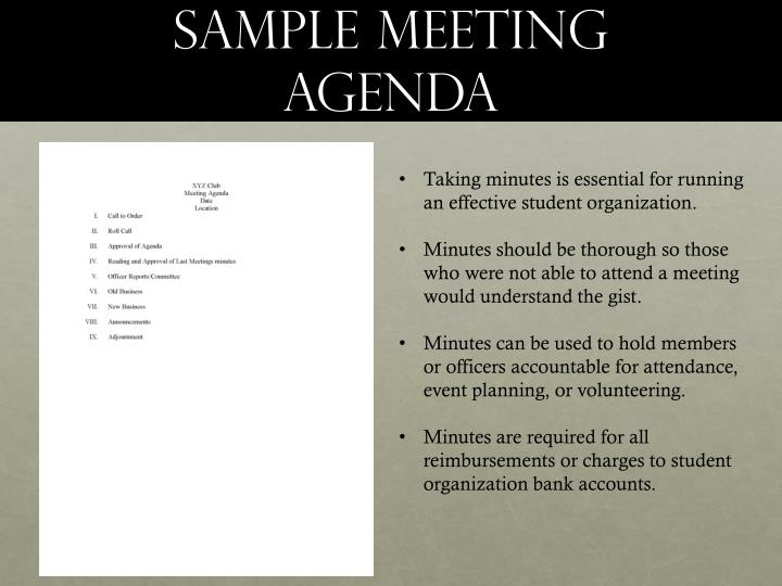 Sample Meeting agenda