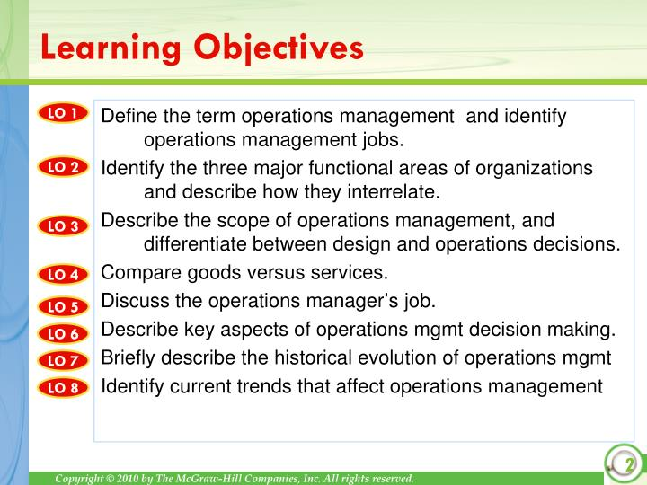 Define the term operations management  and identify operations management jobs.