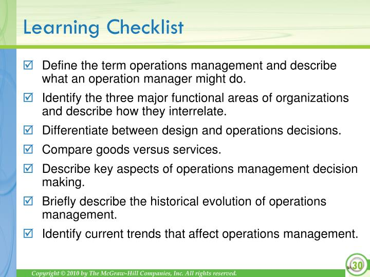 Define the term operations management and describe what an operation manager might do.