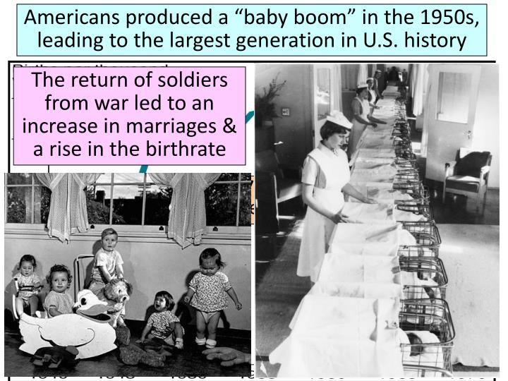 "Americans produced a ""baby boom"" in the 1950s, leading to the largest generation in U.S. history"
