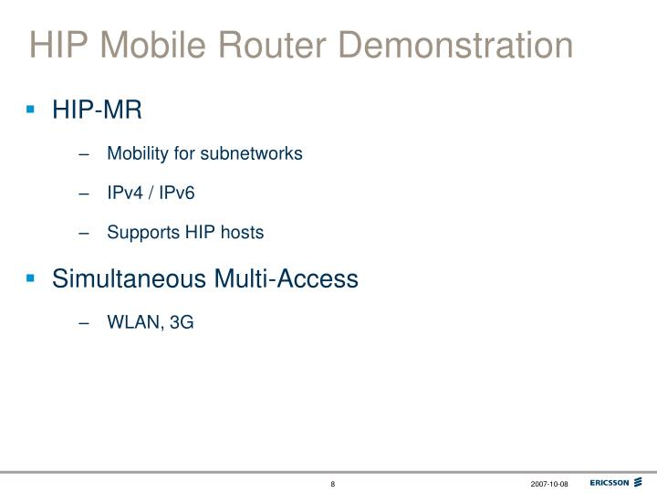 HIP Mobile Router Demonstration