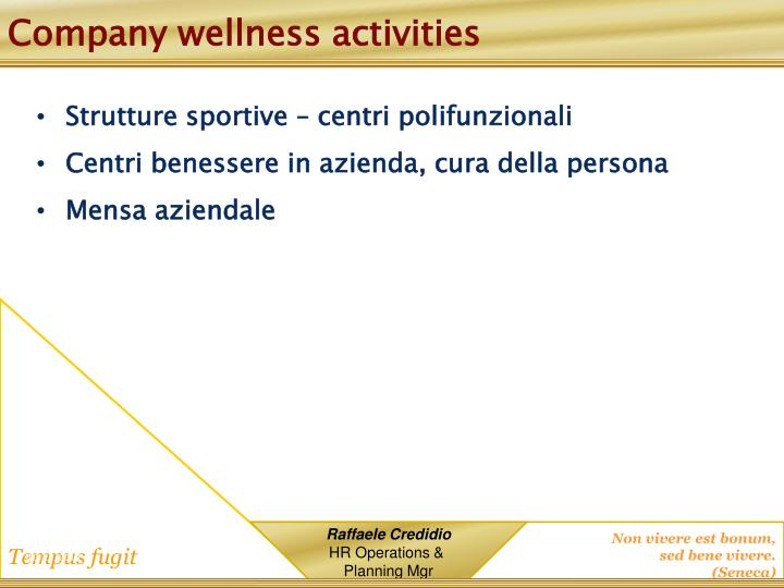 Company wellness activities