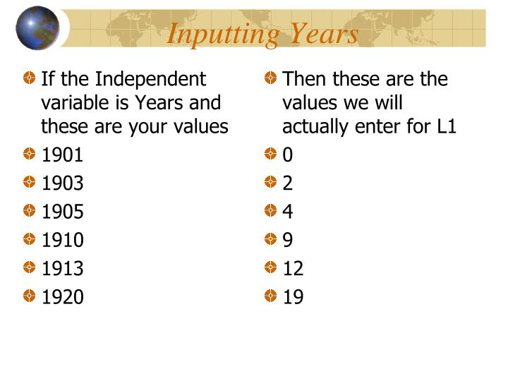 If the Independent variable is Years and these are your values