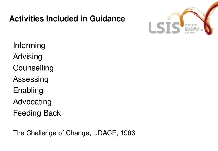 Activities Included in Guidance