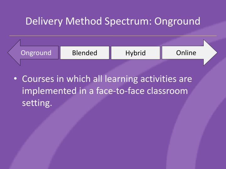 Delivery Method Spectrum: Onground