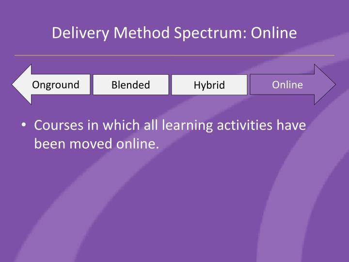 Delivery Method Spectrum: Online