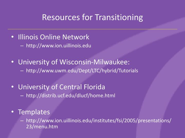 Resources for Transitioning