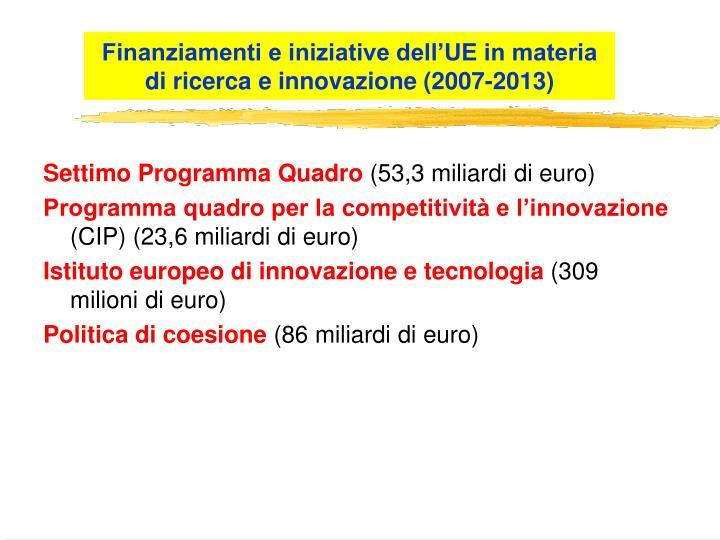 Finanziamenti e iniziative dell'UE in materia di ricerca e innovazione (2007-2013)