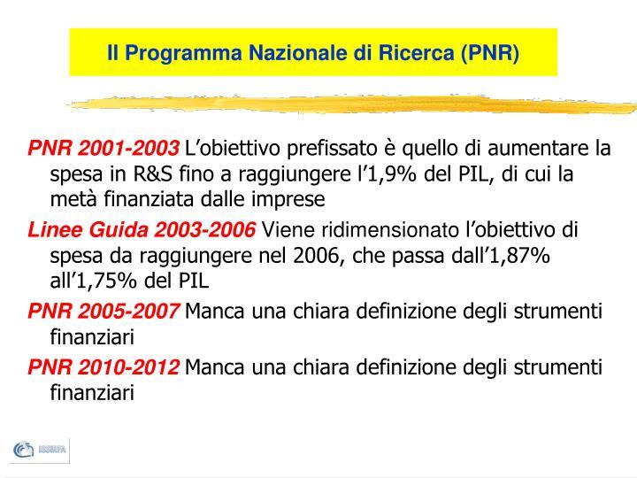 Il Programma Nazionale di Ricerca (PNR)