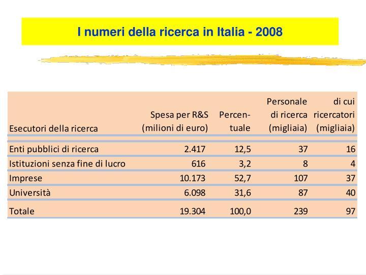 I numeri della ricerca in Italia - 2008