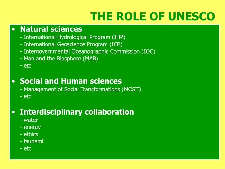 THE ROLE OF UNESCO
