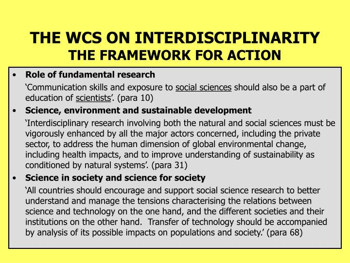 THE WCS ON INTERDISCIPLINARITY