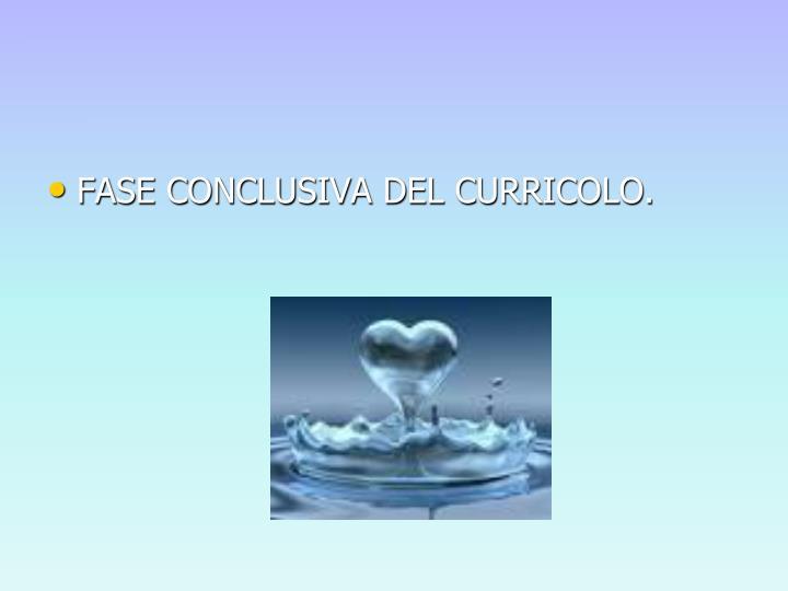 FASE CONCLUSIVA DEL CURRICOLO.